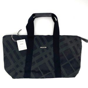BURBERRY Black Checkered Canvas Travel Tote NWT
